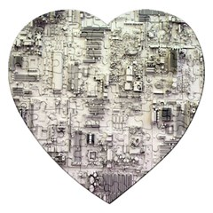 White Technology Circuit Board Electronic Computer Jigsaw Puzzle (heart) by BangZart