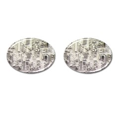 White Technology Circuit Board Electronic Computer Cufflinks (oval) by BangZart