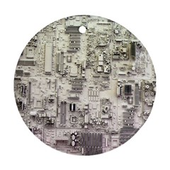 White Technology Circuit Board Electronic Computer Round Ornament (two Sides) by BangZart