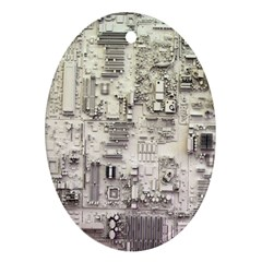 White Technology Circuit Board Electronic Computer Oval Ornament (two Sides) by BangZart