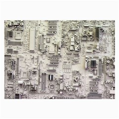 White Technology Circuit Board Electronic Computer Large Glasses Cloth (2 Side) by BangZart