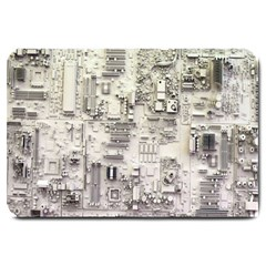 White Technology Circuit Board Electronic Computer Large Doormat  by BangZart