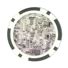 White Technology Circuit Board Electronic Computer Poker Chip Card Guard by BangZart