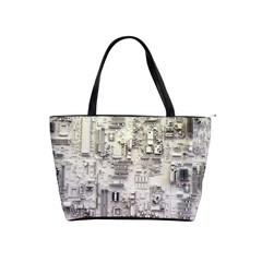 White Technology Circuit Board Electronic Computer Shoulder Handbags