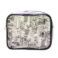 White Technology Circuit Board Electronic Computer Mini Toiletries Bags