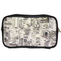 White Technology Circuit Board Electronic Computer Toiletries Bags 2 Side