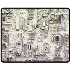 White Technology Circuit Board Electronic Computer Fleece Blanket (medium)