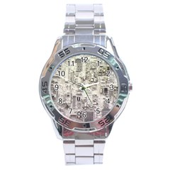 White Technology Circuit Board Electronic Computer Stainless Steel Analogue Watch