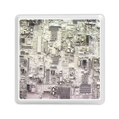 White Technology Circuit Board Electronic Computer Memory Card Reader (square)