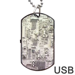 White Technology Circuit Board Electronic Computer Dog Tag Usb Flash (two Sides) by BangZart