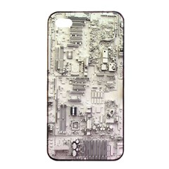 White Technology Circuit Board Electronic Computer Apple Iphone 4/4s Seamless Case (black)