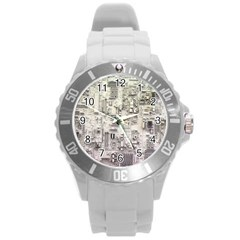 White Technology Circuit Board Electronic Computer Round Plastic Sport Watch (l) by BangZart