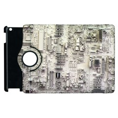 White Technology Circuit Board Electronic Computer Apple Ipad 3/4 Flip 360 Case by BangZart