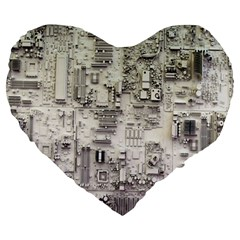 White Technology Circuit Board Electronic Computer Large 19  Premium Heart Shape Cushions by BangZart
