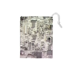 White Technology Circuit Board Electronic Computer Drawstring Pouches (small)  by BangZart