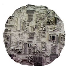 White Technology Circuit Board Electronic Computer Large 18  Premium Flano Round Cushions by BangZart