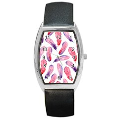 Watercolor Pattern With Feathers Barrel Style Metal Watch by BangZart