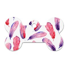 Watercolor Pattern With Feathers Dog Tag Bone (two Sides) by BangZart