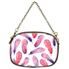 Watercolor Pattern With Feathers Chain Purses (one Side)