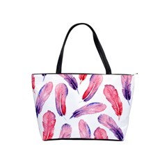Watercolor Pattern With Feathers Shoulder Handbags by BangZart