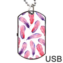 Watercolor Pattern With Feathers Dog Tag Usb Flash (two Sides) by BangZart