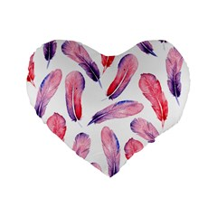 Watercolor Pattern With Feathers Standard 16  Premium Heart Shape Cushions