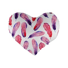 Watercolor Pattern With Feathers Standard 16  Premium Flano Heart Shape Cushions by BangZart