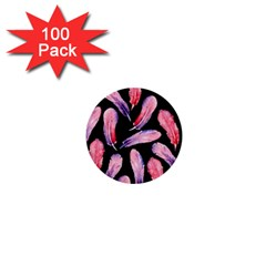 Watercolor Pattern With Feathers 1  Mini Buttons (100 Pack)