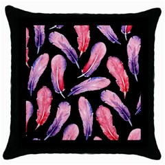 Watercolor Pattern With Feathers Throw Pillow Case (black)