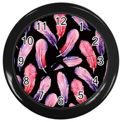 Watercolor Pattern With Feathers Wall Clocks (black) by BangZart