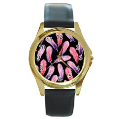 Watercolor Pattern With Feathers Round Gold Metal Watch