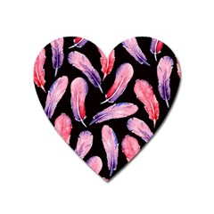 Watercolor Pattern With Feathers Heart Magnet