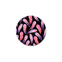 Watercolor Pattern With Feathers Golf Ball Marker
