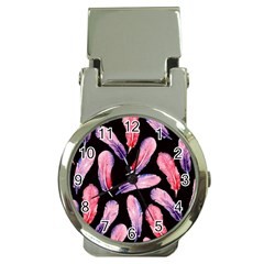 Watercolor Pattern With Feathers Money Clip Watches