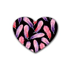 Watercolor Pattern With Feathers Rubber Coaster (heart)  by BangZart