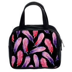 Watercolor Pattern With Feathers Classic Handbags (2 Sides) by BangZart