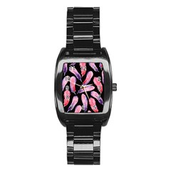 Watercolor Pattern With Feathers Stainless Steel Barrel Watch