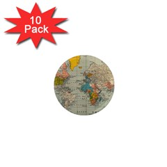 Vintage World Map 1  Mini Magnet (10 Pack)