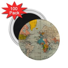 Vintage World Map 2 25  Magnets (100 Pack)  by BangZart