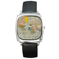 Vintage World Map Square Metal Watch