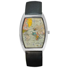 Vintage World Map Barrel Style Metal Watch by BangZart