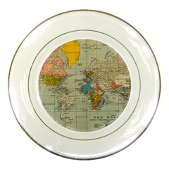 Vintage World Map Porcelain Plates by BangZart