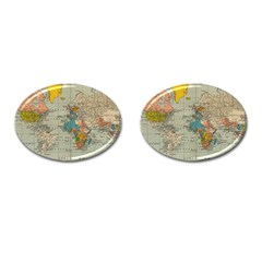 Vintage World Map Cufflinks (oval)