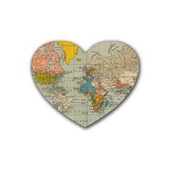 Vintage World Map Heart Coaster (4 Pack)  by BangZart