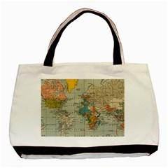 Vintage World Map Basic Tote Bag (two Sides)