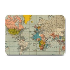 Vintage World Map Small Doormat  by BangZart