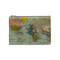 Vintage World Map Cosmetic Bag (medium)