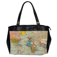 Vintage World Map Office Handbags (2 Sides)  by BangZart