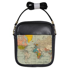 Vintage World Map Girls Sling Bags by BangZart