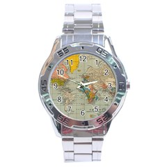 Vintage World Map Stainless Steel Analogue Watch by BangZart